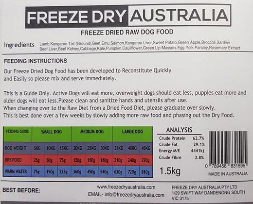 1.5Kg Raw Dog Food Back